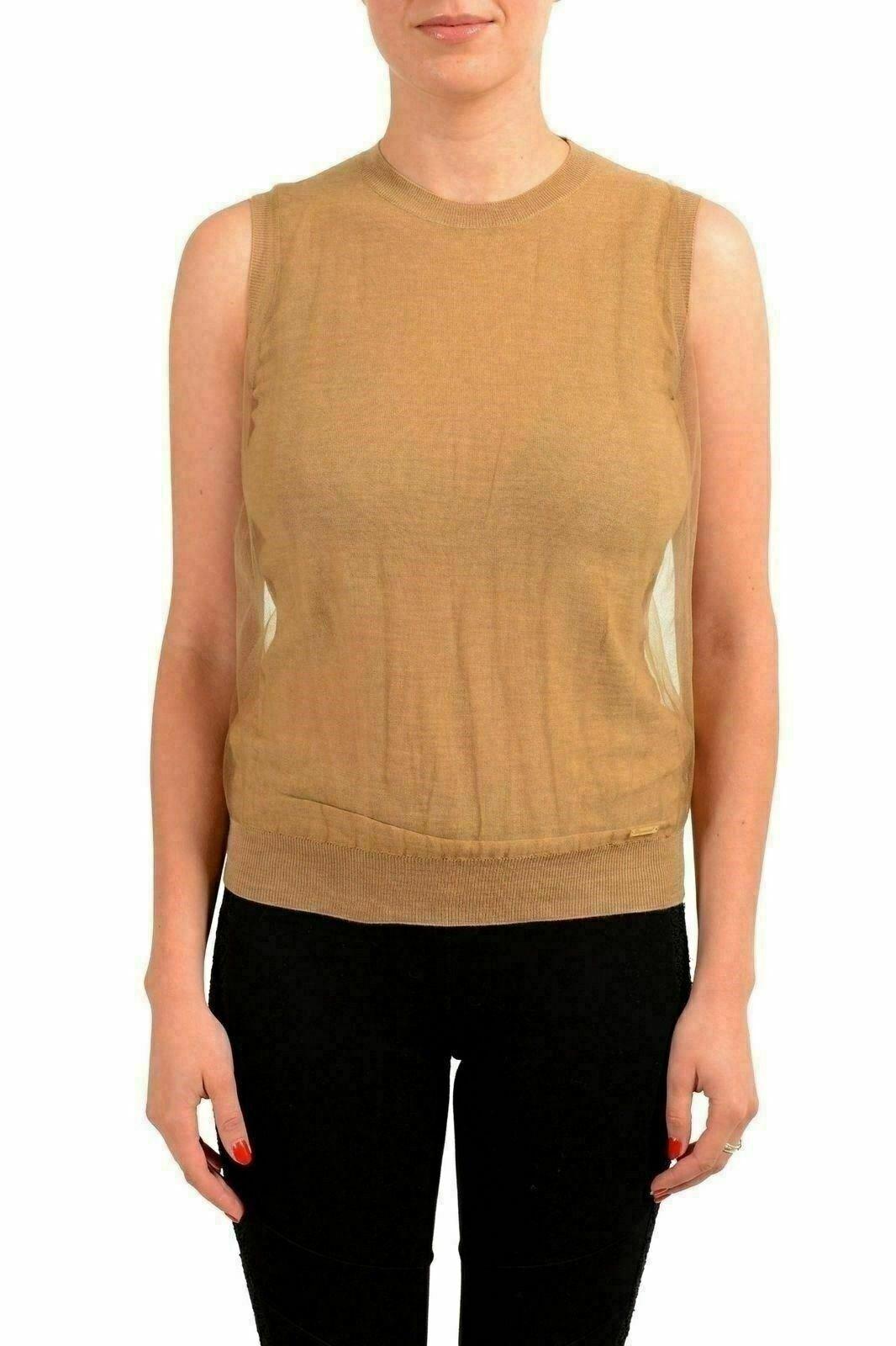 Dsquared2 Women's Wool Beige Sleeveless Knitted Top US XS IT 38