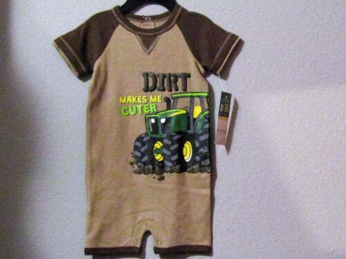 John Deere boy/'s roper short sleeve beige w//brown trim /& /'DIRT MAKES ME CUTIER/'