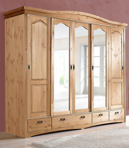 kleiderschrank schlafzimmerschrank 249cm kiefer massiv natur 5 t rig neu 233484 ebay. Black Bedroom Furniture Sets. Home Design Ideas