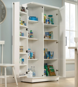 Details about White Kitchen Storage Cabinet Tall Food Pantry Wood Shelf  Classic Cupboard