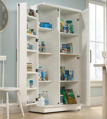 White Kitchen Storage Cabinet Tall Food Pantry Wood Shelf ...