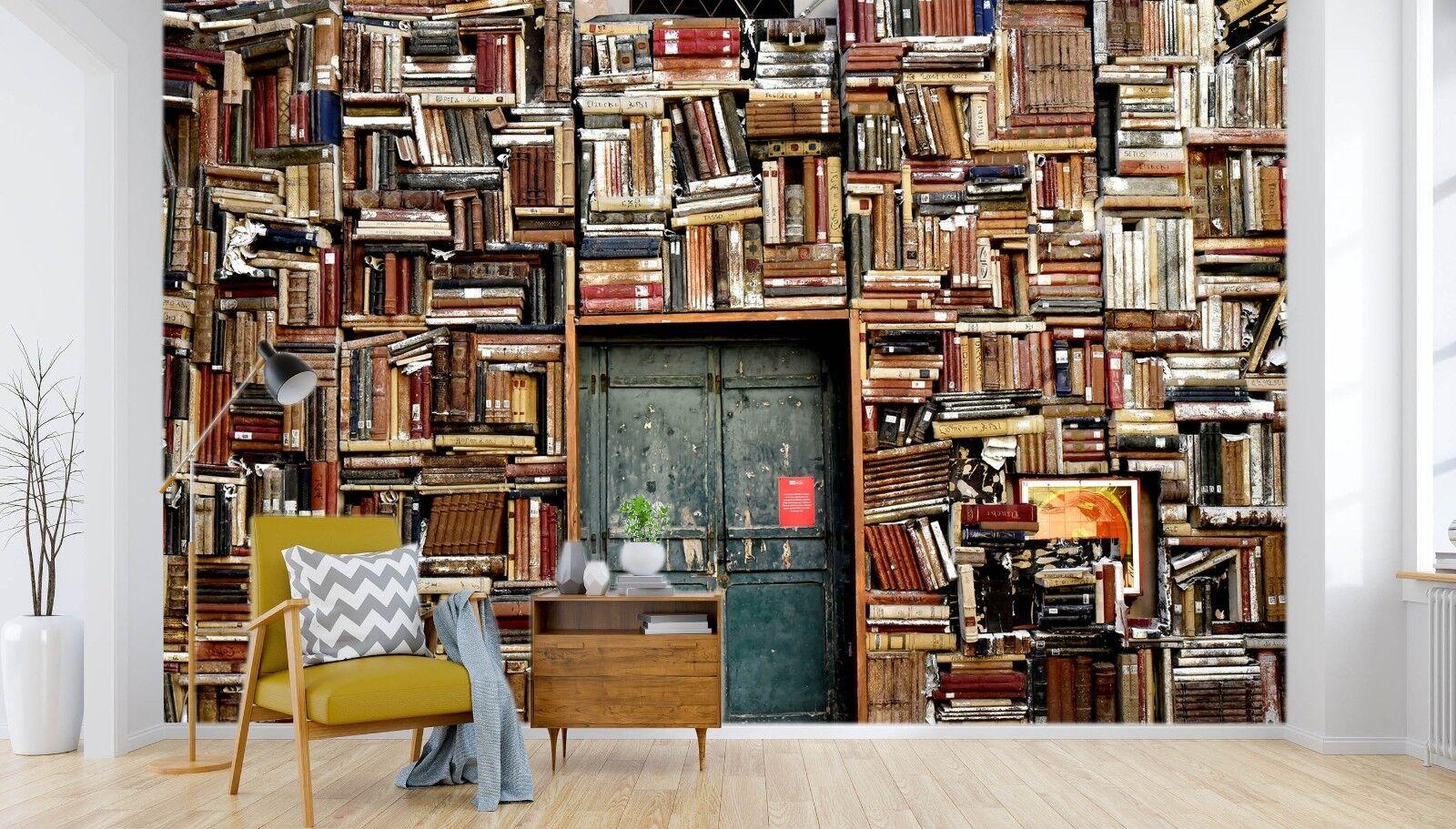 3D Bookshelf Door 76 Wallpaper Mural Paper Wall Print Murals UK Jenny