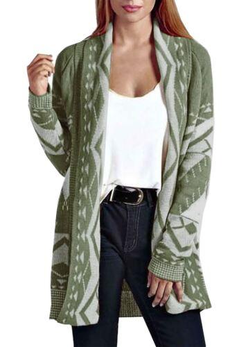 Ladies Aztec Print Open Knitted Long Sleeve Cardigan Women Winter Jumper Top Lot