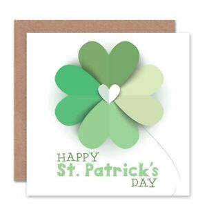 St-Patrick-039-S-Day-Heart-Clover-Blank-Greeting-Card-With-Envelope