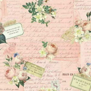 Cottage Shabby Chic Riley Blake Rose & Violet's Garden Party Blush Fabric BTY