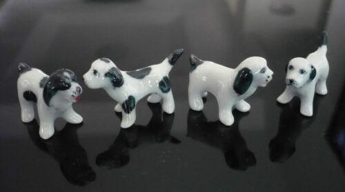 4 Tiny Black //White  Dog Dollhouse Miniature Ceramic Animal Figurines