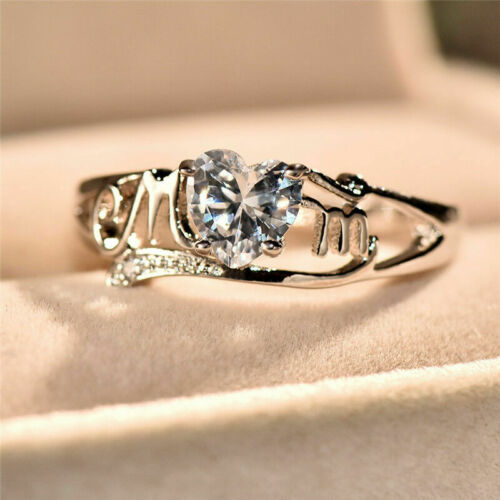 Heart Love Mom 925 Silver White Sapphire Ring Mother/'s Day Jewelry Gift Size5-10
