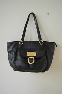 d43d9eea89f0 Michael Kors Hudson Downtown Purse Tote Soft Black Pebbled Leather ...
