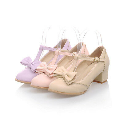 Womens Girls Lolita Bowknot T Strap Candy mary Janes Chunky Heel Pumps Shoes New