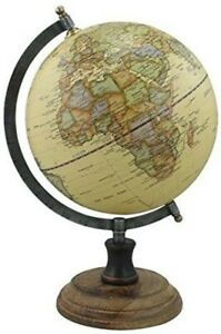 Globe-Antique-Style-with-Foot-Wooden-Iron-Brass-H-32-cm-Beige-Flowers
