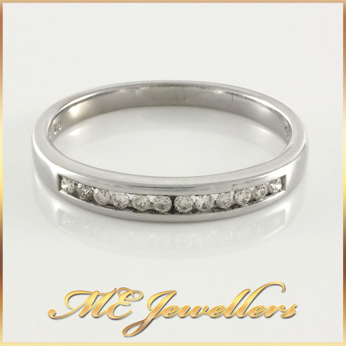 LadieS Solid White gold 0.12ct TDW Diamond Ring 9k 9kt 9ct 375 Sz O, 2-2.9mm