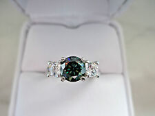 Antique Russian Style 1Ct Green Diamond 925 Sterling Silver Engagement Ring