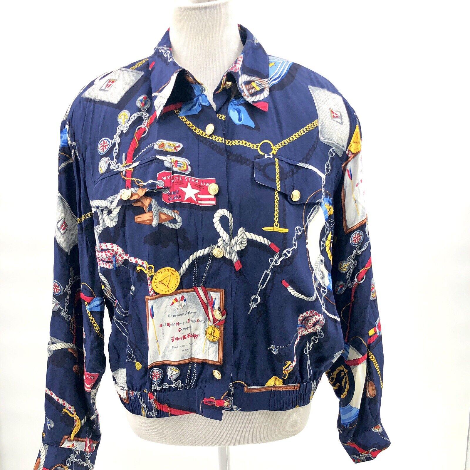 Colección Vintage Liz Claiborne Talla 12 Azul Azul Azul Náutica Botones Chaqueta De Vela a38aad