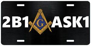 Details about 2B1 ASK1 Mason License Plate Masonic Auto Car Truck Tag Emblem