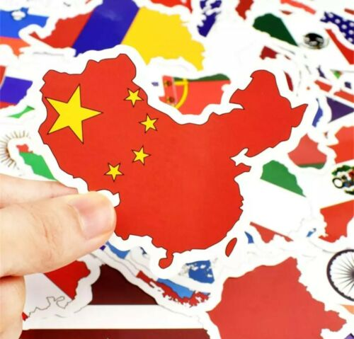 50 Pegatinas Bandera Nacional//países del mundo//Mapas//País Pegatina De Vinilo Impermeable