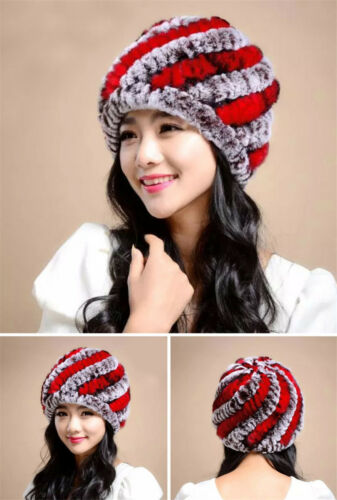 Elegent Real Farms Rex Rabbit Fur Beanie Ski Cap Headwear Women Warm Winter Hat