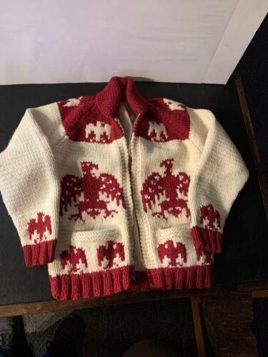 1960s Era EAGLES Hand-Knit Wool Zippered Shawl Col