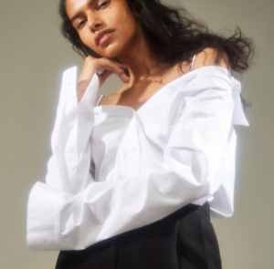 NWT Theory Tamalee Off-the-Shoulder Cotton Poplin Shirt Weiß Größe L