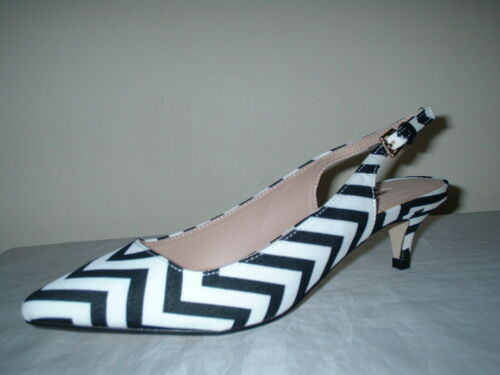 BLACK//WHITE SLING BACK LOW HEELS POINTED TOE COURT SHOES SIZE 5//38