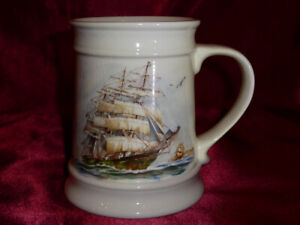 Vintage-SAILING-SHIP-GALLEON-TANKARD-by-Melba-Ware-Large-nautical-themed-mug