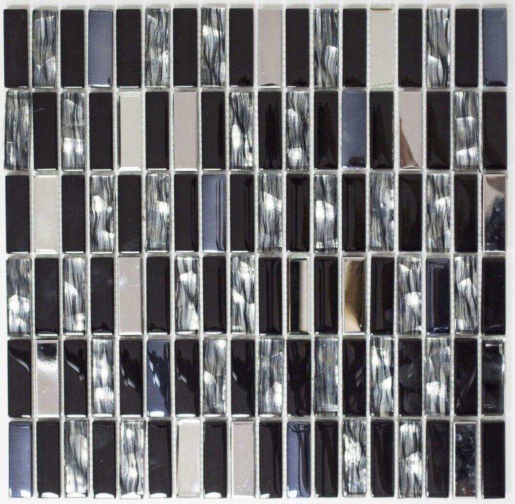 Mosaïque carreau inox verre baguette cristal schwarz cuisine 87-0301_f   10 plaques