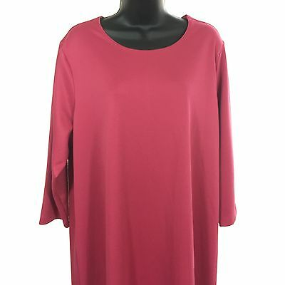 Modest Dress Plus Size 1X Appleseeds Knit Pink 3/4 Sleeves Spring Summer
