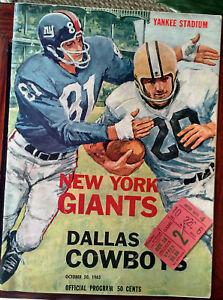 3aa0fc3681e 1963 New York Giants v Dallas Cowboys Program 10 20 63 Yankee ...