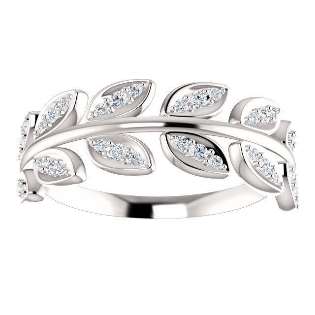 14K White Gold 1/4ctw Genuine Diamond Leaf Design Ring