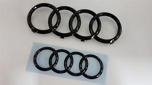Audi-A3-Sportback-Zeichen-Set-vorn-hinten-Ringe-Black-Edition-Embleme-schwarz