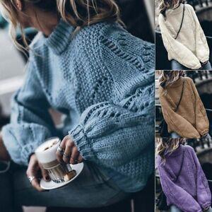 Knitwear-Pullover-Tops-Sweater-Loose-Long-Sleeve-Jumper-Knitted-Turtleneck-Women