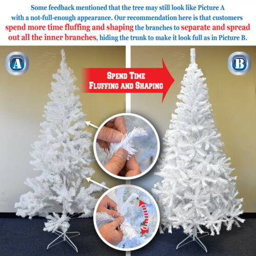White Artificial Christmas tree Tall 7-7.5/' Natural Fir Pine Unlit Prelit Hinged