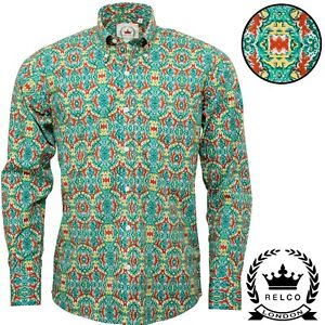 Relco-Mens-Green-Abstract-Floral-Long-Sleeved-Button-Down-Vintage-Shirt-Mod-NEW