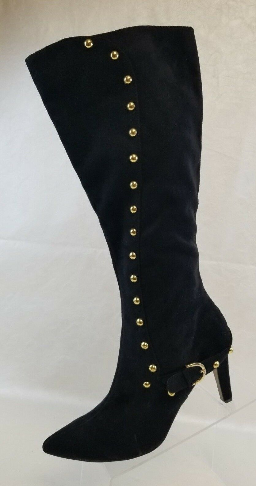 Ann Marino Knee High Boots Womens Zip Heels gold Stud Black Faux Suede Size 9.5M