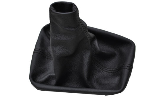 FITS PEUGEOT 308 BLACK REAL LEATHER GEAR GAITER BLACK DOUBLE STITCH