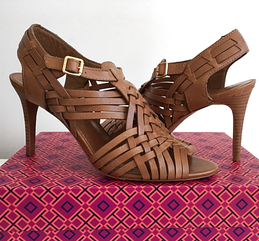 Tory Burch Nadia high heel woven strappy sandals size 10 M