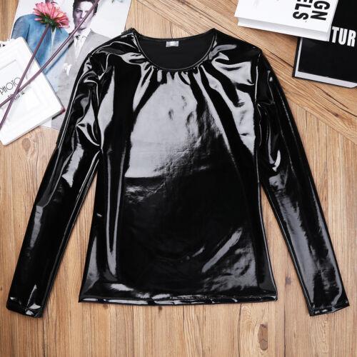 Men Patent Leather Wetlook T-shirt Tank Tops Stretch Slim Fit Undershirt Clubwer
