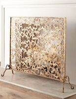 Neiman Marcus Single Panel Flat Iron Wingsong Fireplace Screen Horchow Gold