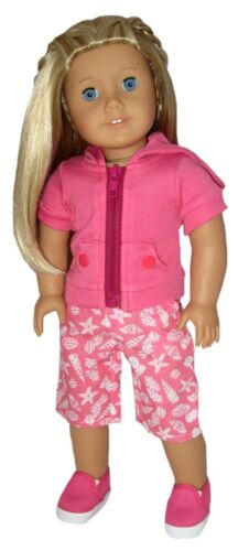 Hot Pink Hoodie and Print Board Shorts Fits 18 inch American Girl Dolls  Hot pin