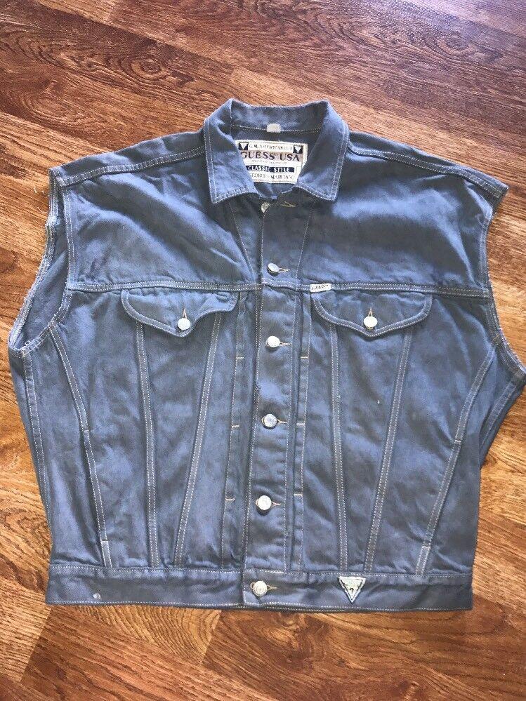 Genuine Vintage Guess American Cut Georges Marciano grau Distressed Vest Denim M