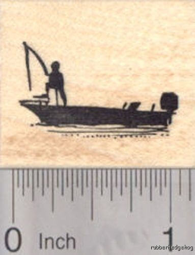 Bass Fishing Boat Rubber Stamp Sport fishing Silhouette D18009 WM