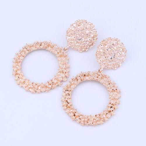 Fashion Women Boho Statement Geometric Large Circle Drop Dangle Stud Earrings