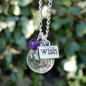 Dandelion-necklace-WISH-seed-flower-gemstone-Amethyst-Garnet-Hematite-Black-Onyx