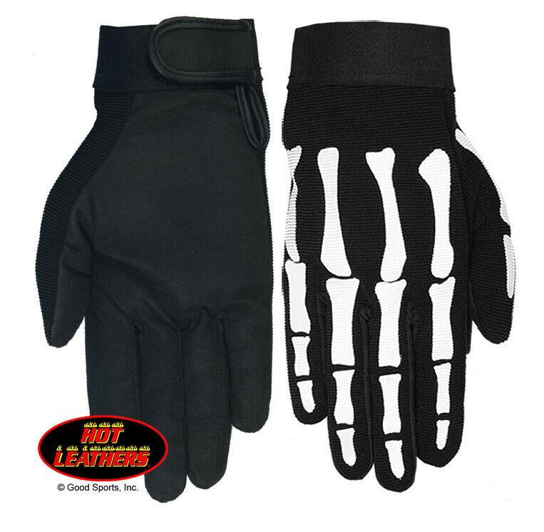 Skeleton Bones Men's Motorcycle Mechanic Black Full Finger Biker Gloves GVM2007
