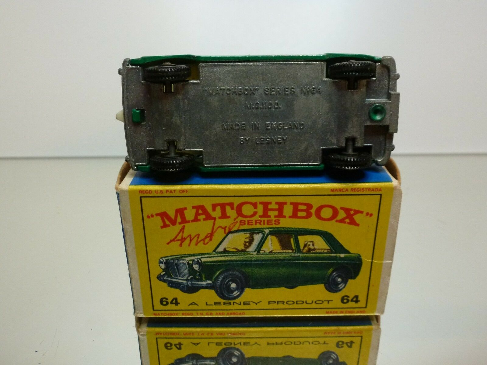 LESNEY MATCHBOX 64  M.G. MG 1100 - GREEN - - - GOOD CONDITION IN BOX 719fea