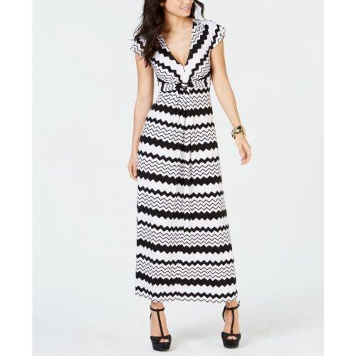 Thalia Sodi Women/'s Printed Maxi Dress Black//White Size Medium