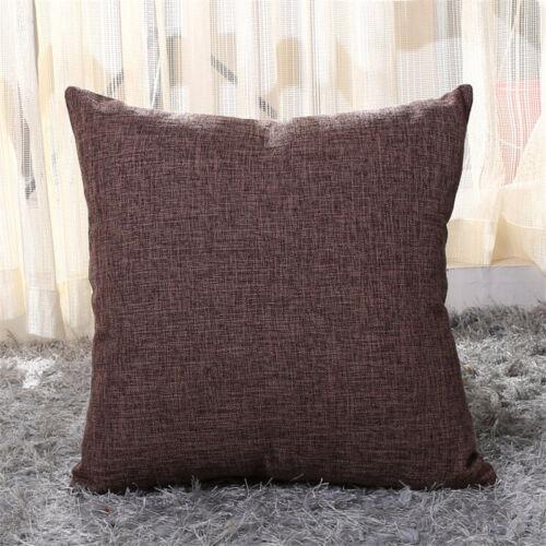 Maison 55x55cm Taie d/'oreiller épaissir Lin Couleur Unie Housse de coussin Voiture Canapé Décor