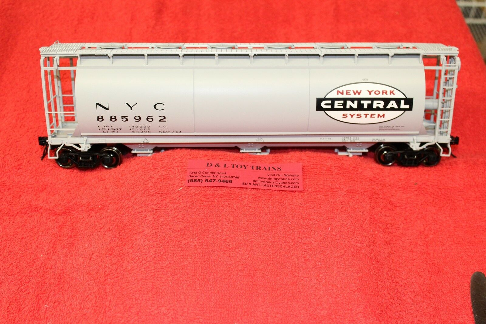 3002219 nuovo York Central 3 Bay Cylindrical Hopper auto 2 Rail nuovo IN scatola
