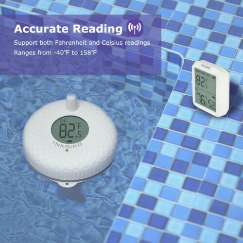 Inkbird Wireless Floating Thermometer 300ft Remote Measure Pool Pond Waterproof