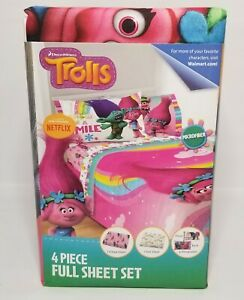 Trolls 3 Piece Twin Bed Sheet Set Kids Microfiber Bedding ...