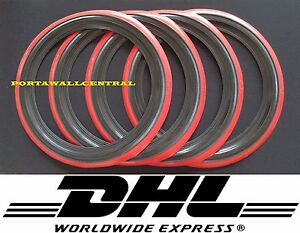 "4X15"" BLACK&RED WALL TYRE TRIMS PORTAWALL WHITEWALL SET OF4 VW BUG TYPE1"